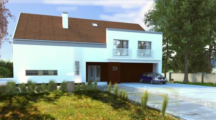 Nowoczesny Dom Energooszczędny : styl , w kategorii  zaprojektowany przez WW Studio Architektoniczne ,