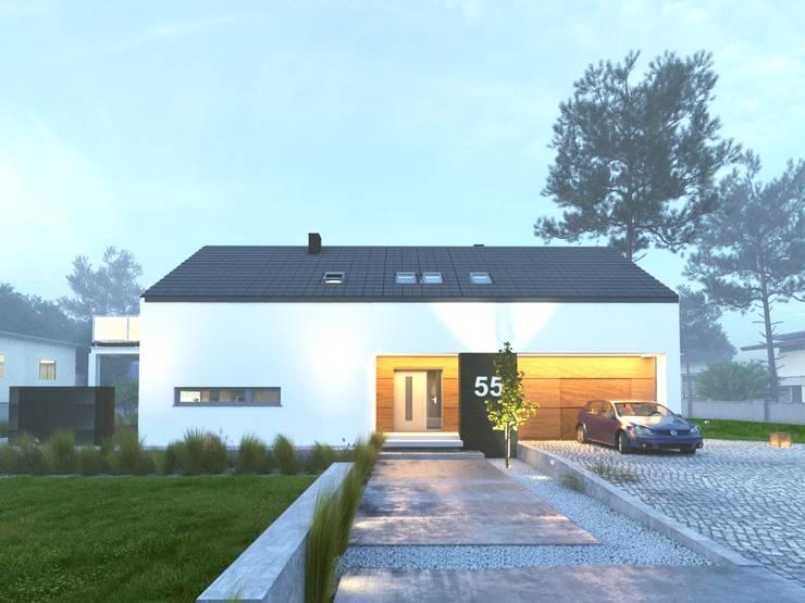 Prosty Dom Energooszczędny : styl minimalistyczne, w kategorii Domy zaprojektowany przez WW Studio Architektoniczne