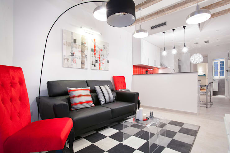 -: Salones de estilo moderno de Amplix Group