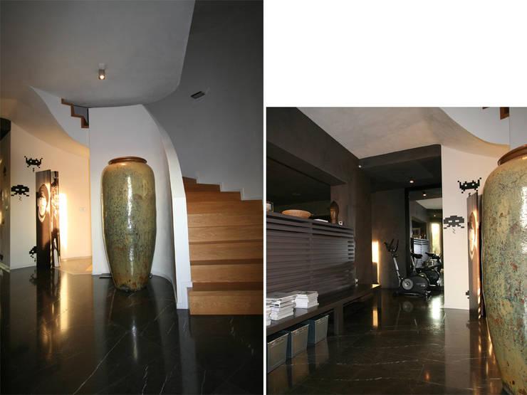 Villa bifamiliare: Soggiorno in stile  di Studio Maggiore Architettura, Moderno