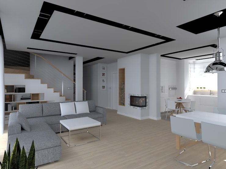 dom koło Olsztyna: styl , w kategorii Salon zaprojektowany przez ap. studio architektoniczne Aurelia Palczewska-Dreszler
