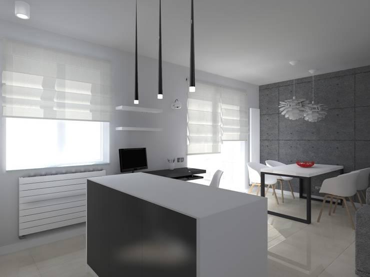 minimalistyczne mieszkanie w Iławie: styl , w kategorii Salon zaprojektowany przez ap. studio architektoniczne Aurelia Palczewska-Dreszler
