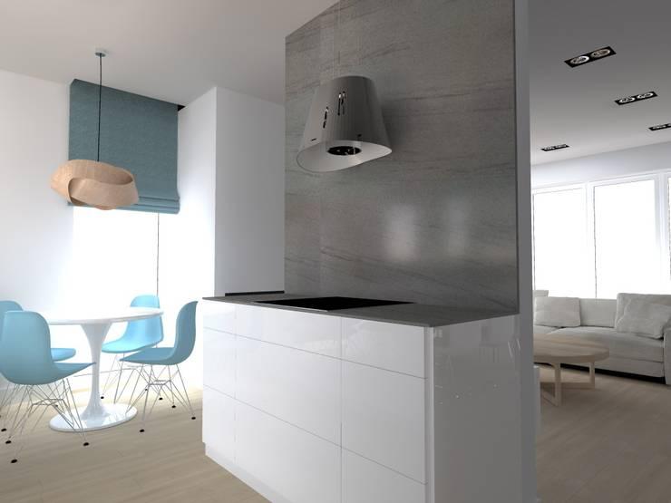 salon w Nowym Dworze: styl , w kategorii Kuchnia zaprojektowany przez ap. studio architektoniczne Aurelia Palczewska-Dreszler