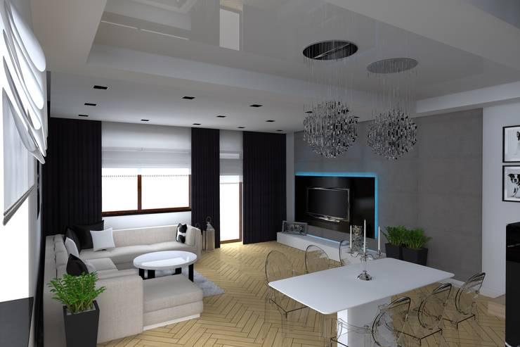 salon w Elblągu: styl , w kategorii Salon zaprojektowany przez ap. studio architektoniczne Aurelia Palczewska-Dreszler