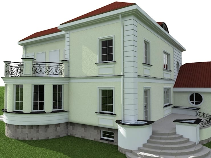 elewacje domu w Działdowie: styl , w kategorii Domy zaprojektowany przez ap. studio architektoniczne Aurelia Palczewska-Dreszler,Klasyczny