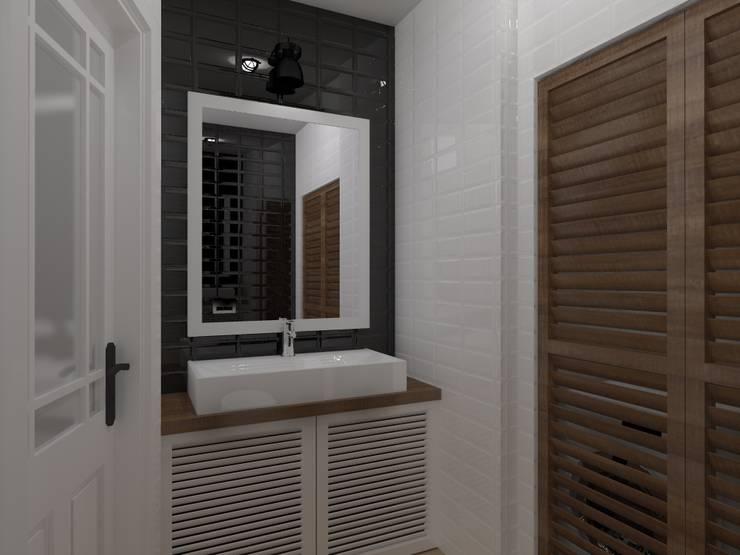 mieszkanie  industrialne w Iławie 2: styl , w kategorii Łazienka zaprojektowany przez ap. studio architektoniczne Aurelia Palczewska-Dreszler