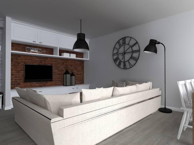 mieszkanie  industrialne w Iławie 2: styl , w kategorii Salon zaprojektowany przez ap. studio architektoniczne Aurelia Palczewska-Dreszler