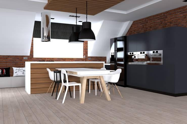 dom industrialny w Iławie: styl , w kategorii Kuchnia zaprojektowany przez ap. studio architektoniczne Aurelia Palczewska-Dreszler