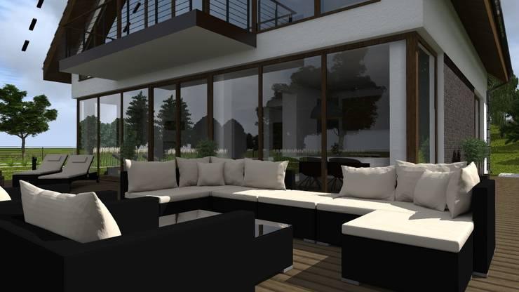 dom z ogrodem koło Nowego Miasta Lubawskiego: styl , w kategorii Taras zaprojektowany przez ap. studio architektoniczne Aurelia Palczewska-Dreszler