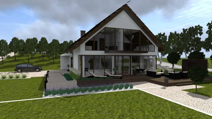 dom z ogrodem koło Nowego Miasta Lubawskiego: styl , w kategorii Domy zaprojektowany przez ap. studio architektoniczne Aurelia Palczewska-Dreszler