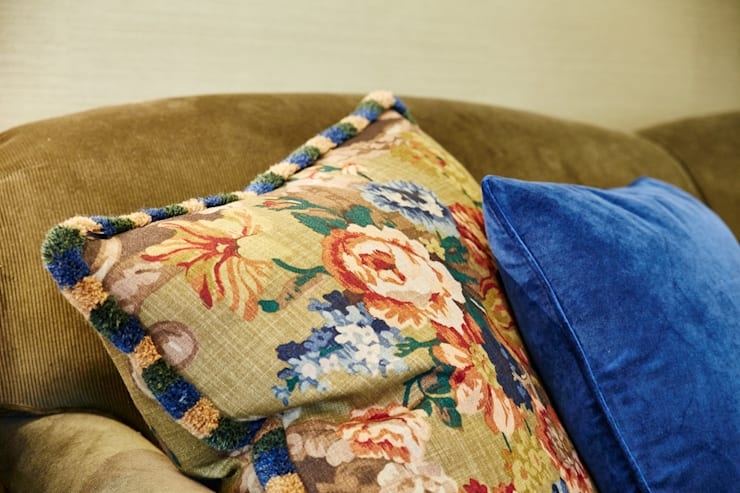 Mulberry & Etro cushions - a splash of colour :  Living room by Horton and Co