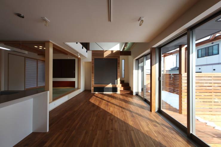 THE HOUSE WITH CAR-GARAGE IN ICHINOMIYA CITY JAPAN: 株式会社 アトリエ創一級建築士事務所が手掛けたリビングです。