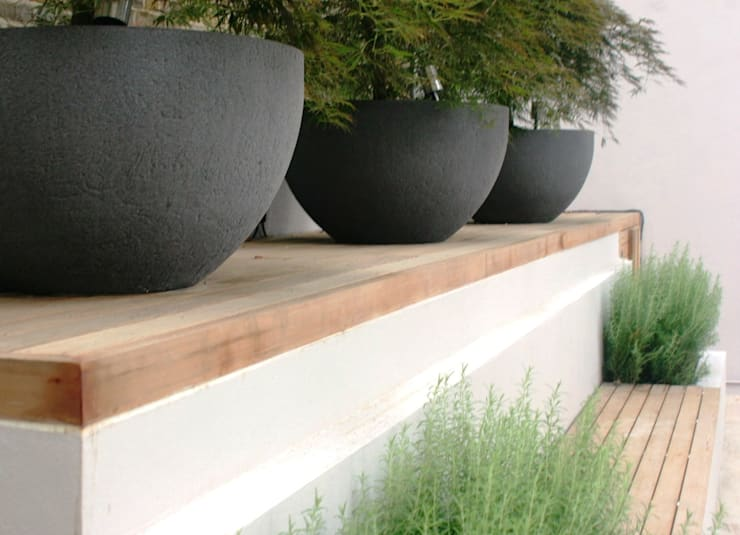 Large planters and seating by Rae Wilkinson:  Garden by Rae Wilkinson Design Ltd