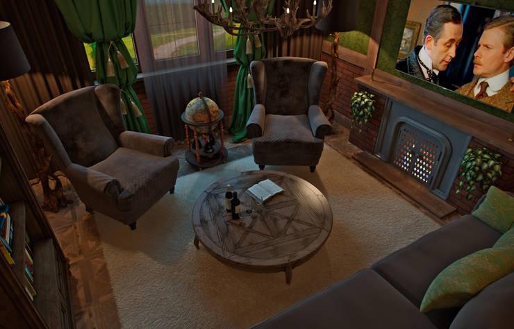 Квартира в духе Шерлока Холмса: Гостиная в . Автор – Shop of the interiors, design studio, Кантри