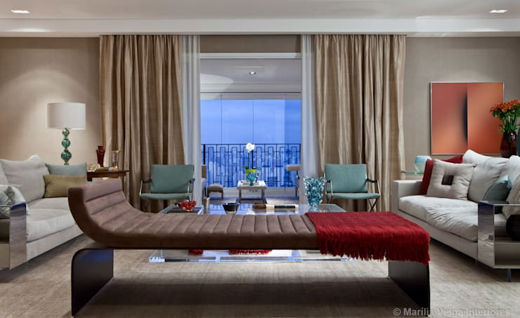 Apartamento Parque Cidade Jardim: Salas de estar modernas por Marilia Veiga Interiores
