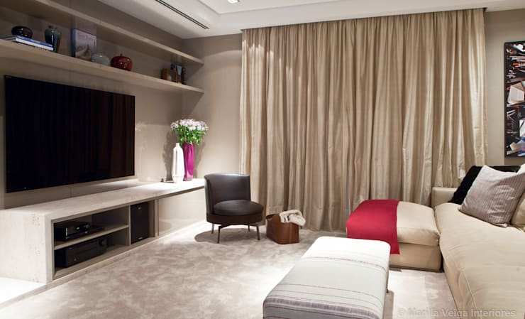 Salas multimedia de estilo moderno por Marilia Veiga Interiores