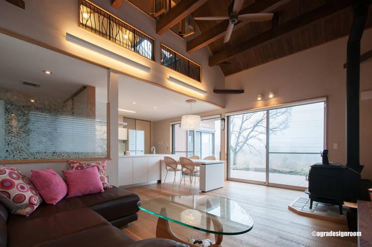 富士を見るためのリビング: アグラ設計室一級建築士事務所 agra design roomが手掛けたリビングです。