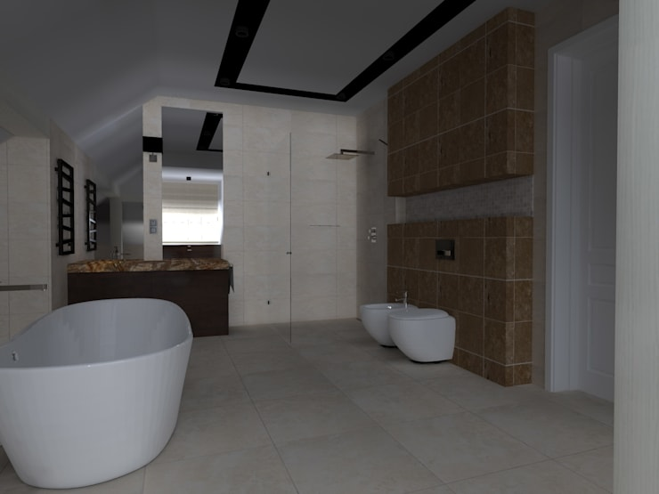 rezydencja koło Iławy: styl , w kategorii Łazienka zaprojektowany przez ap. studio architektoniczne Aurelia Palczewska-Dreszler