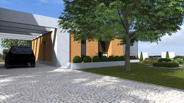 nowoczesny ogród w Olsztynie: styl minimalistyczne, w kategorii Domy zaprojektowany przez ap. studio architektoniczne Aurelia Palczewska-Dreszler