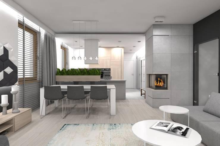 Projekt domu jednorodzinnego wykonany dla A2.Studio Pracownia Architektury: styl , w kategorii Jadalnia zaprojektowany przez BAGUA Pracownia Architektury Wnętrz,