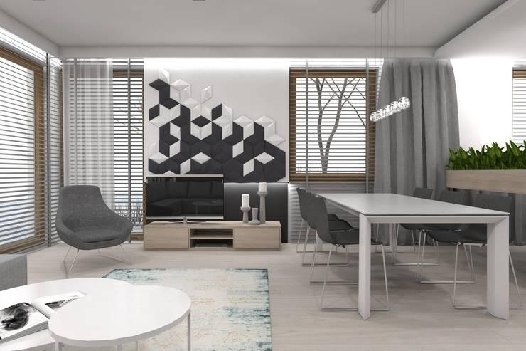 Projekt domu jednorodzinnego wykonany dla A2.Studio Pracownia Architektury: styl , w kategorii Salon zaprojektowany przez BAGUA Pracownia Architektury Wnętrz