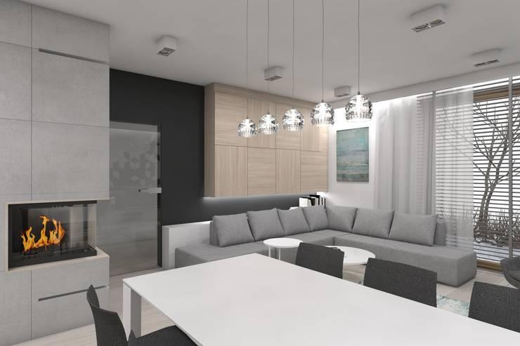Projekt domu jednorodzinnego wykonany dla A2.Studio Pracownia Architektury: styl , w kategorii Salon zaprojektowany przez BAGUA Pracownia Architektury Wnętrz,