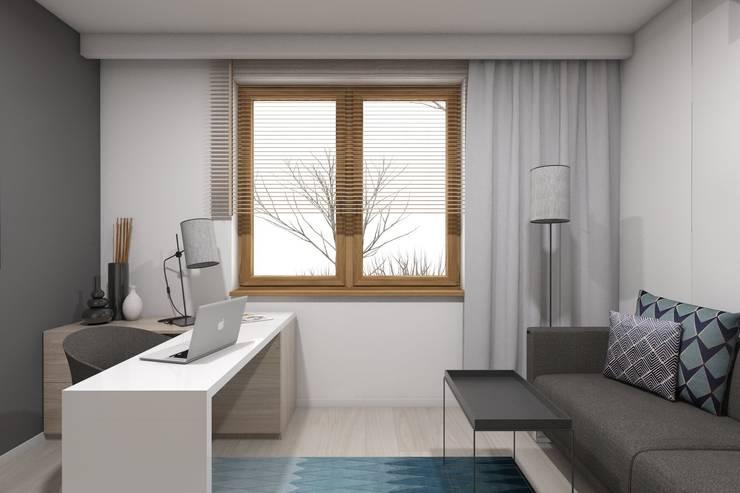 Projekt domu jednorodzinnego wykonany dla A2.Studio Pracownia Architektury: styl , w kategorii Domowe biuro i gabinet zaprojektowany przez BAGUA Pracownia Architektury Wnętrz