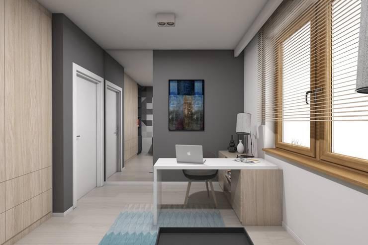 Projekt domu jednorodzinnego wykonany dla A2.Studio Pracownia Architektury: styl , w kategorii Domowe biuro i gabinet zaprojektowany przez BAGUA Pracownia Architektury Wnętrz,