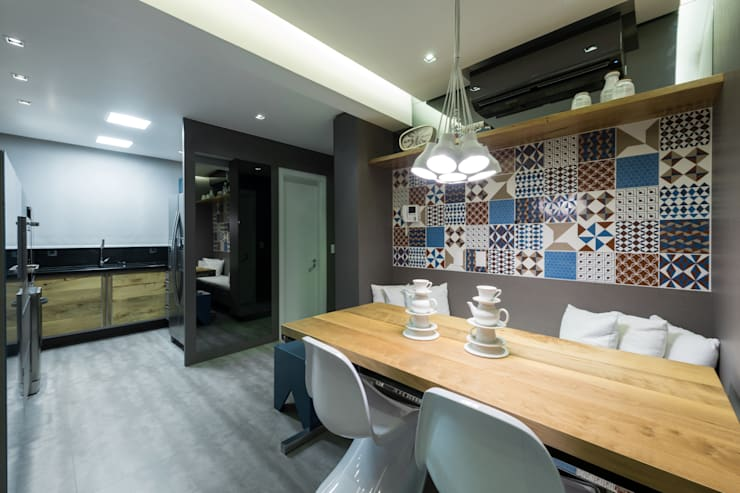 Projeto 17 - Residência clean: Cozinhas  por GREISSE PANAZZOLO ARQUITETURA