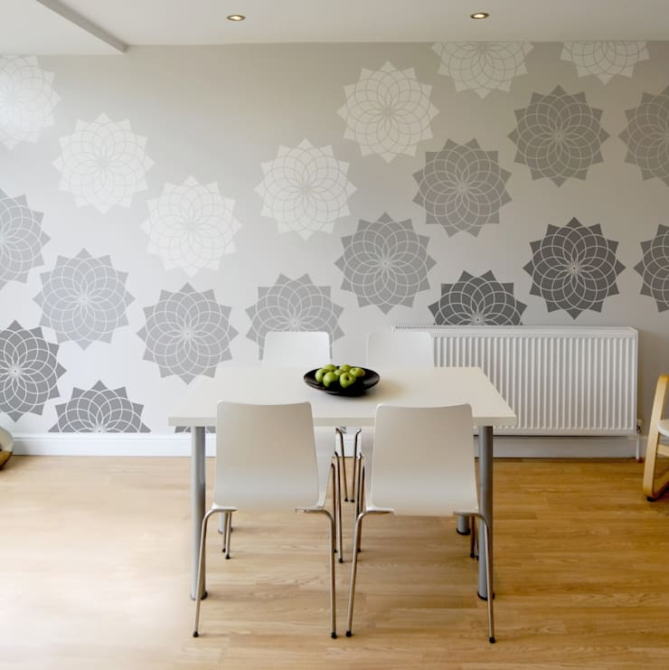 Lotus Flower Stencil. Extra Large for impact! Reusable laser cut stencils from The Stencil Studio Scandinavian Collection:  Walls & flooring by The Stencil Studio Ltd