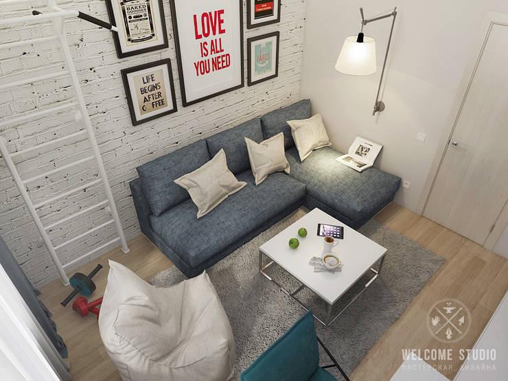 Двухкомнатная квартира в Москве «Голубая дымка»: Гостиная в . Автор – Мастерская дизайна Welcome Studio,