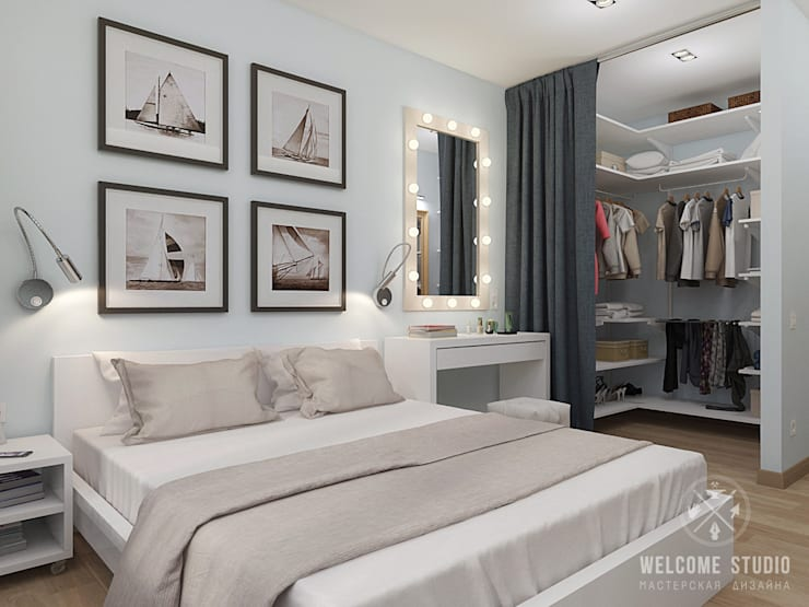 Двухкомнатная квартира в Москве «Голубая дымка»: Спальни в . Автор – Мастерская дизайна Welcome Studio