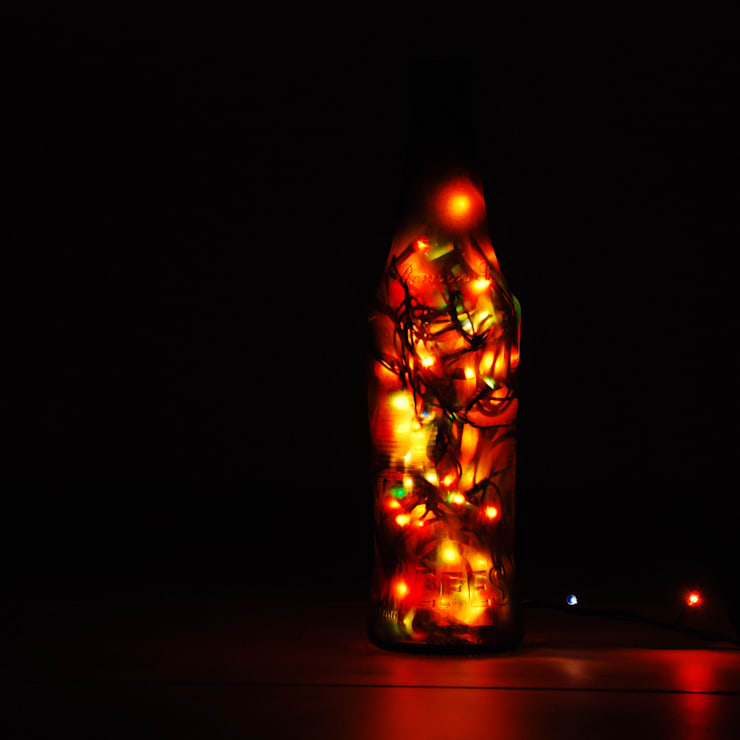 LAMPBADA DESIGN LAMP – Longdarkbeerlamp Tasarım, Cam Gece Masa Lambası:  tarz İç Dekorasyon