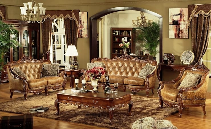 Classic Chesterfield Sofa Set:  Living room by Locus Habitat
