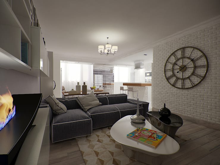 Квартира с включением лоджии в жилое пространство: Гостиная в . Автор – Makhrova Svetlana