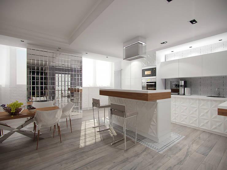 Квартира с включением лоджии в жилое пространство: Кухни в . Автор – Makhrova Svetlana