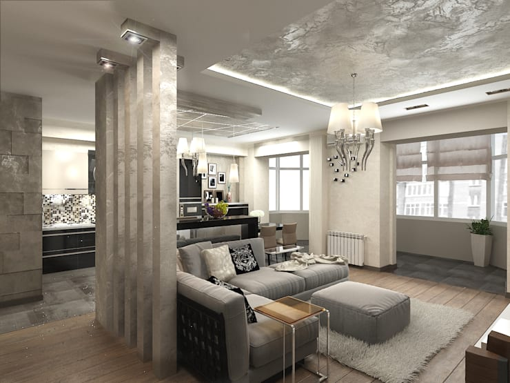 Необрутальный шик: Гостиная в . Автор – De Style