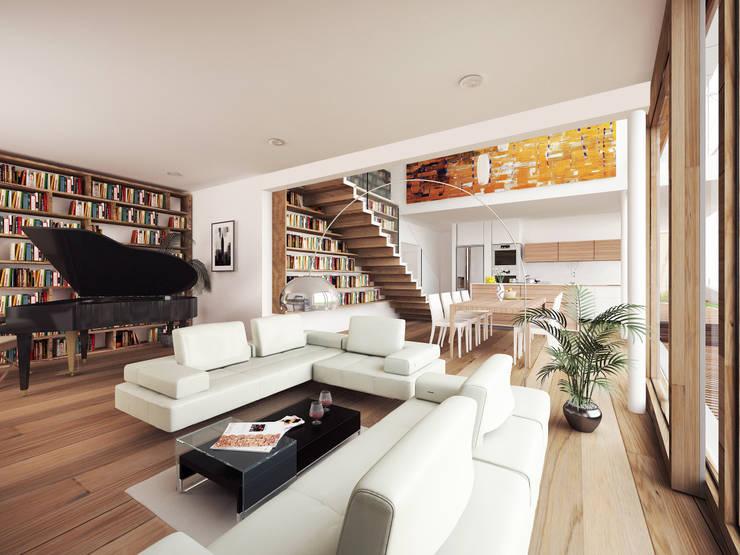 HAUS GLR: moderne Wohnzimmer von AL ARCHITEKT
