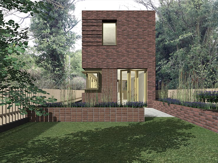 View from rear garden:  Houses by Satish Jassal Architects