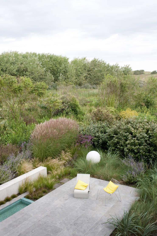 Door slimme erfgrens een natuurlijk overgang naar duinlandschap:  Tuin door Andrew van Egmond (ontwerp van tuin en landschap)