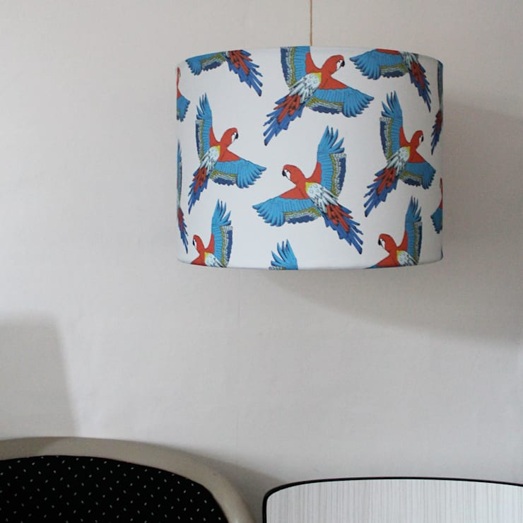 Majestic Macaw Lampshade:  Living room by martha and hepsie ltd