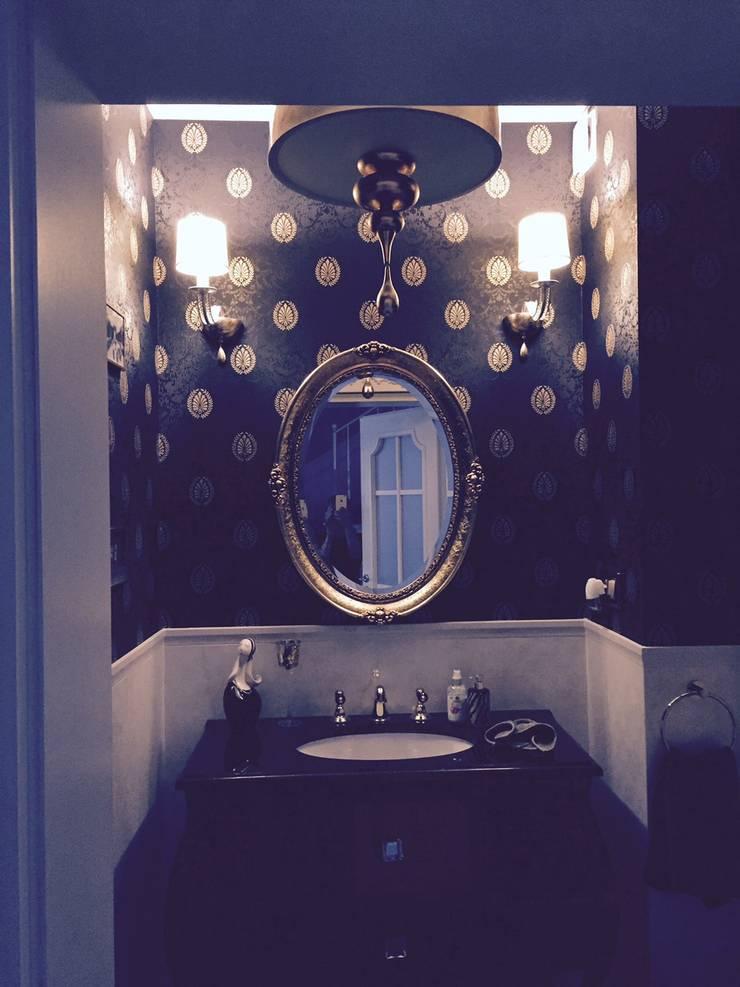 toaleta gościnna ,ponieważ jest to miejsce w którym dość krótko się przebywa ,pozwoliłam sobie użyć ciemnej okładziny: styl , w kategorii Łazienka zaprojektowany przez livinghome wnętrza Katarzyna Sybilska