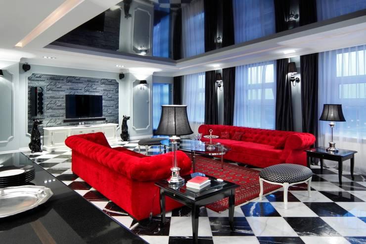 APARTAMENT DLA DWOJGA : styl , w kategorii Salon zaprojektowany przez livinghome wnętrza Katarzyna Sybilska