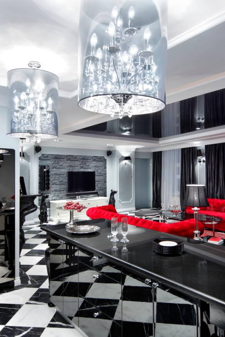 APARTAMENT DLA DWOJGA : styl , w kategorii Pokój multimedialny zaprojektowany przez livinghome wnętrza Katarzyna Sybilska
