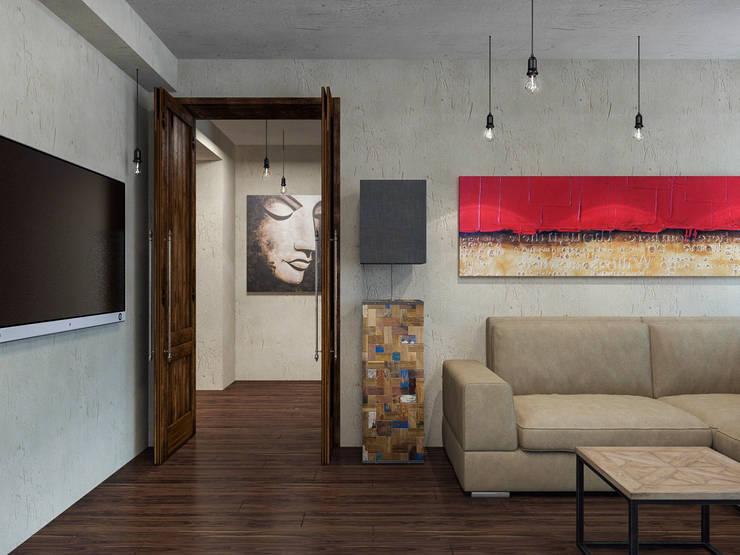 Гостиная, вид на холл: Гостиная в . Автор – PlatFORM