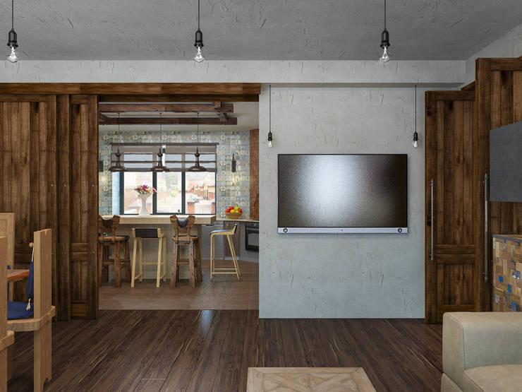 Гостиная, вид на кухню: Коридор и прихожая в . Автор – PlatFORM