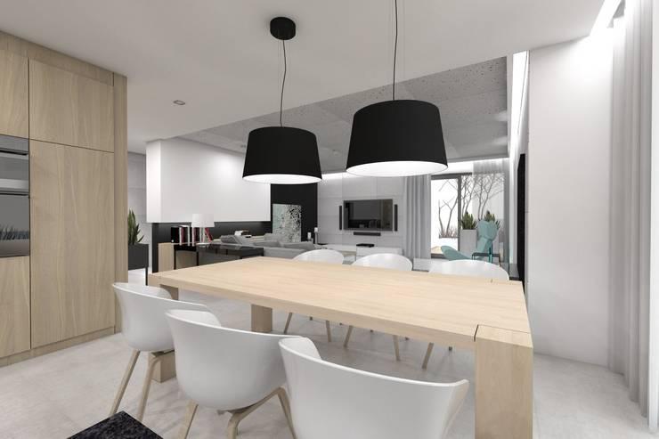 Projekt domu jednorodzinnego 2 (wykonany dla A2.Studio Pracownia Architektury): styl , w kategorii Jadalnia zaprojektowany przez BAGUA Pracownia Architektury Wnętrz