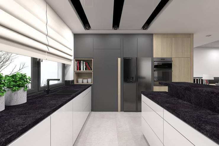 Projekt domu jednorodzinnego 2 (wykonany dla A2.Studio Pracownia Architektury): styl , w kategorii Kuchnia zaprojektowany przez BAGUA Pracownia Architektury Wnętrz