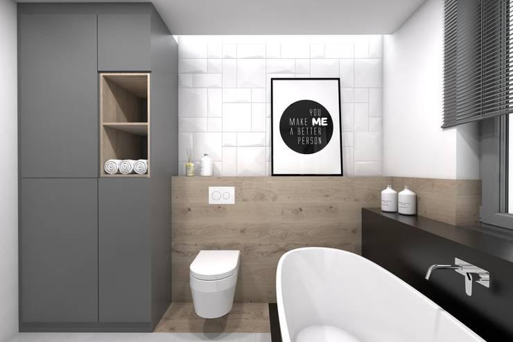 Projekt domu jednorodzinnego 2 (wykonany dla A2.Studio Pracownia Architektury): styl , w kategorii Łazienka zaprojektowany przez BAGUA Pracownia Architektury Wnętrz