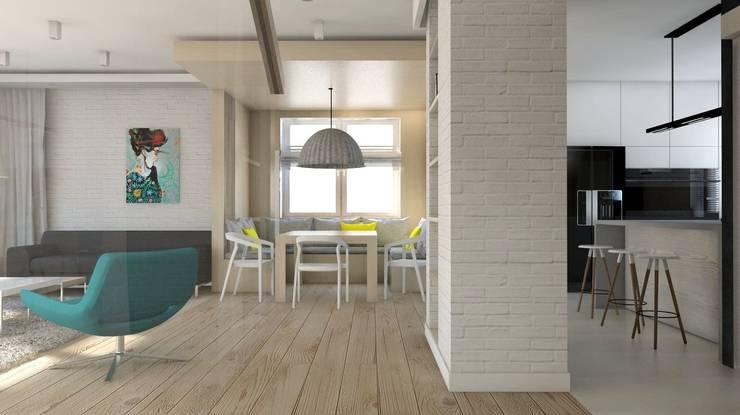 Projekt domu jednorodzinnego 3 (wykonany dla A2.Studio Pracownia Architektury): styl , w kategorii Salon zaprojektowany przez BAGUA Pracownia Architektury Wnętrz